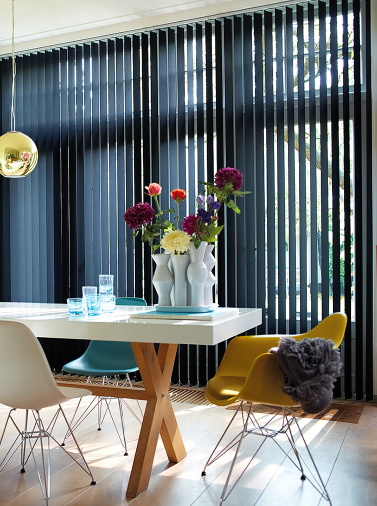 Textile and aluminum vertical blinds